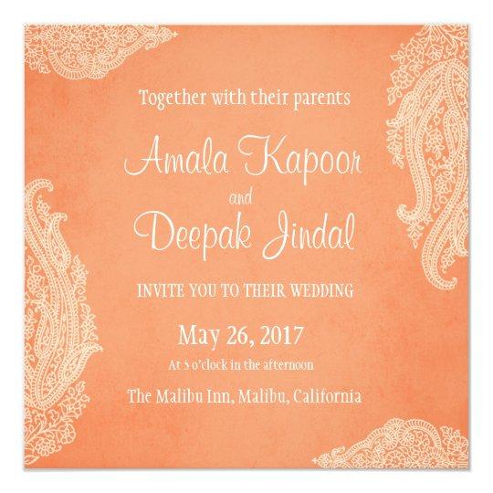 Hindu Wedding Invitation: Hindu Wedding Invitation, Mehndi, Peach Card