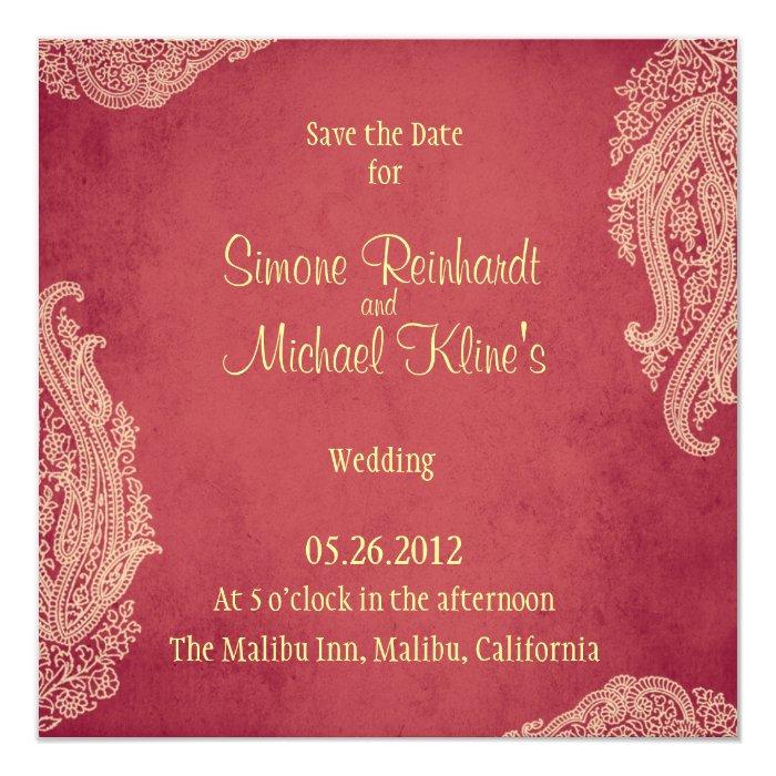 Hindu Wedding Invitation Mehndi Red And Gold Card