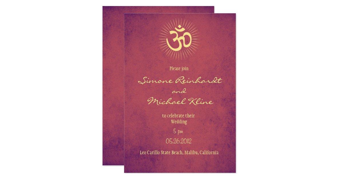 Hindu Wedding Invitation, OM symbol Card | Zazzle
