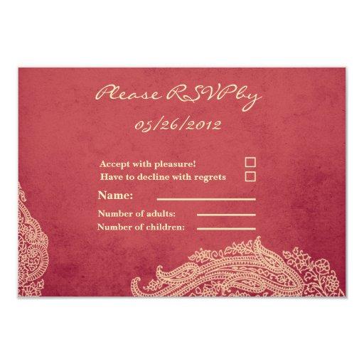 Hindu Wedding RSVP Card Mehndi Red And Gold 35x5 Paper Invitation Card