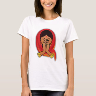 Hindu Woman with Head Scarf in Namaste Greeting T-Shirt
