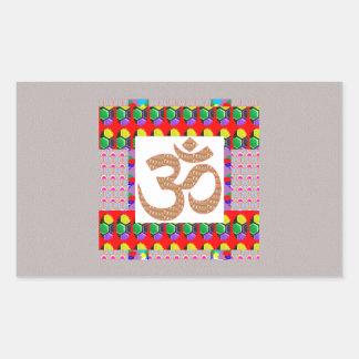 Hinduism del símbolo de la meditación de la yoga rectangular pegatina