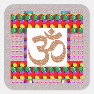 Hinduism del símbolo de la meditación de la yoga colcomanias cuadradas