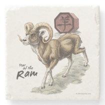 hinese Zodiac Year of the Ram Animal Art Stone Coaster