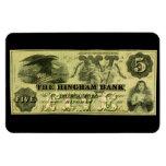 Hingham 1860 Massachusetts nota de cinco dólares Imán