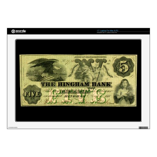 Hingham 1860 Massachusetts nota de cinco dólares 43,2cm Portátil Calcomanía