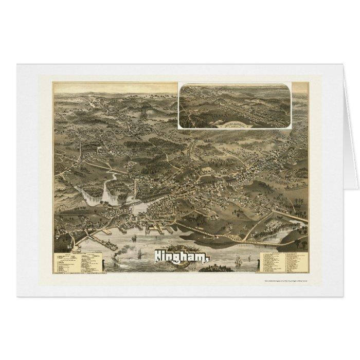 Hingham, MA Panoramic Map - 1885 Card
