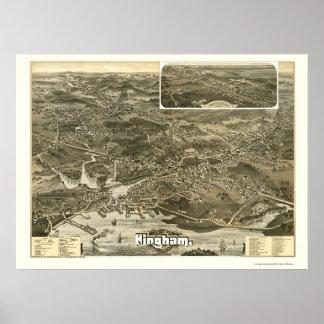 Hingham, MA Panoramic Map - 1885 Poster