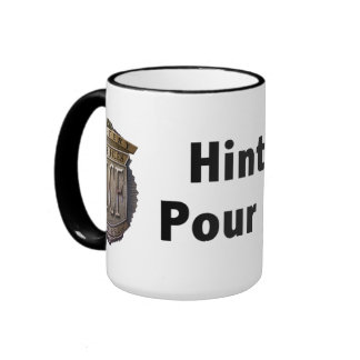 Hint Meter. Pour to Refill. 2 line Black Mugs
