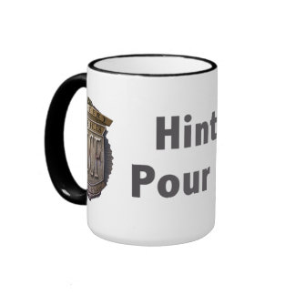 Hint Meter. Pour to Refill. 2 line Grey Mugs