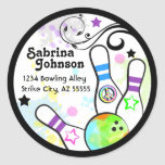 Hip and Colorful Bowling Address Label Classic Round Sticker