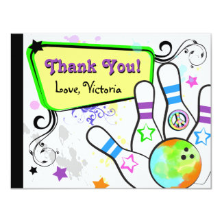 Hip and Colorful Bowling Note Card