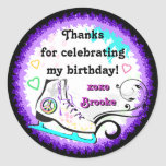 Hip and Colorful Ice Skate Gift Label Classic Round Sticker