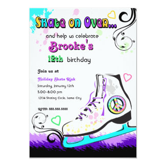 Hip and Colorful Ice Skate Invitation