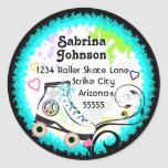 Hip and Colorful Roller Skate Address Label Classic Round Sticker