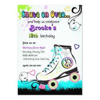 Hip and Colorful Roller Skate Invitation