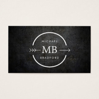HIP and EDGY MONOGRAM with ARROW on BLACK GRUNGE Business Card