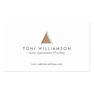 Hip and Minimal Triangle Teepee Home Logo in Tan Business Card Template