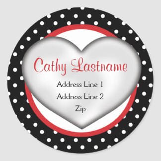 Hip and Retro Heart Address Label Round Sticker