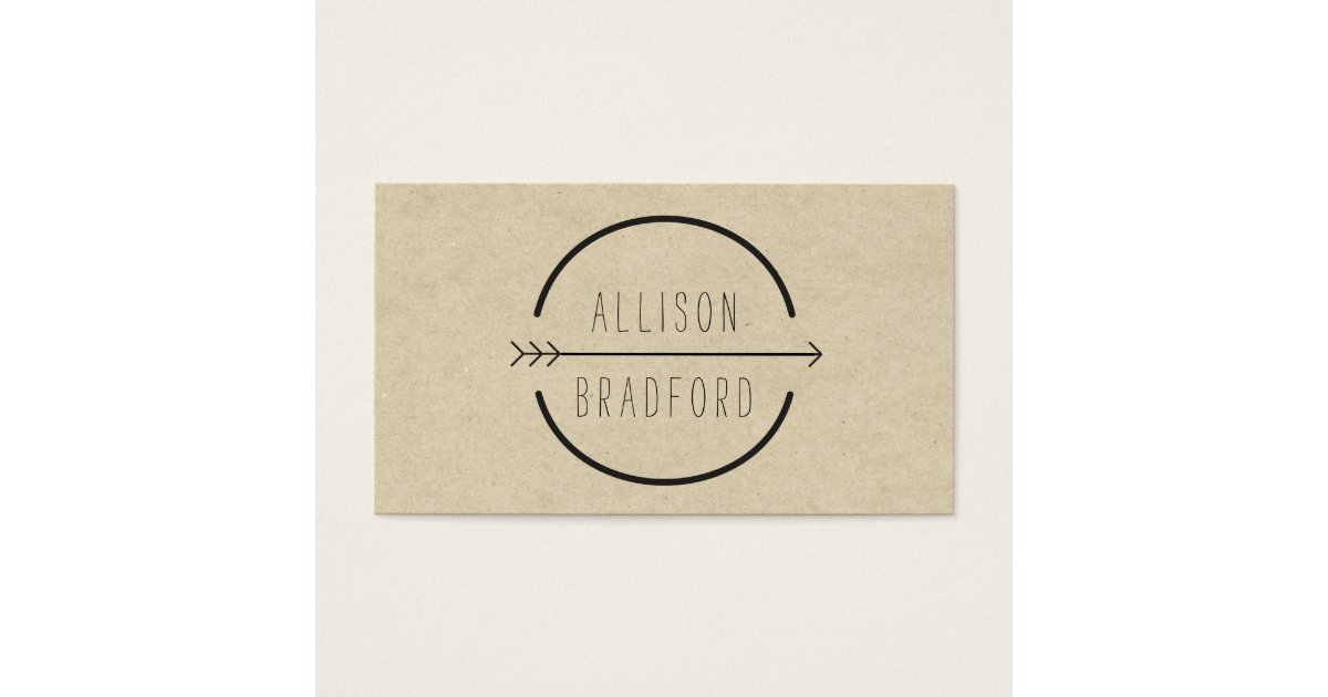 Hip and Rustic Arrow Logo on Tan Cardboard Look Business Card ...