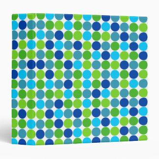 Hip Blue and Green Polka Dot 1.5 Inch Binder