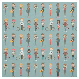 Hip Cartoon People Illustrations Pattern (Blue) Fabric