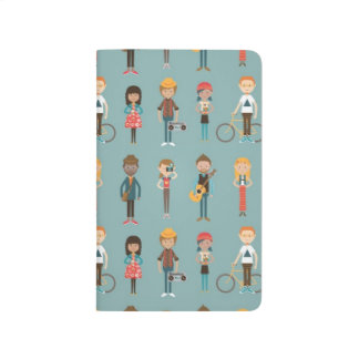 Hip Cartoon People Illustrations Pattern (Blue) Journal