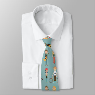 Hip Cartoon People Illustrations Pattern (Blue) Tie
