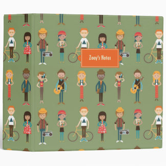 Hip Cartoon People Illustrations Pattern (Green) Binder