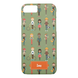 Hip Cartoon People Illustrations Pattern (Green) iPhone 7 Case