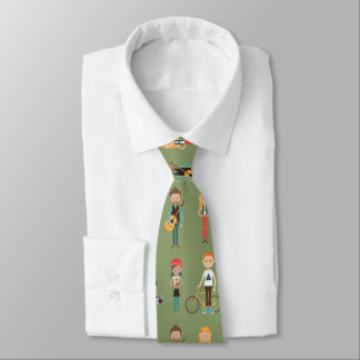 Hip Cartoon People Illustrations Pattern (Green) Tie
