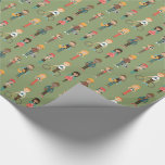 Hip Cartoon People Illustrations Pattern (green) Wrapping Paper at Zazzle