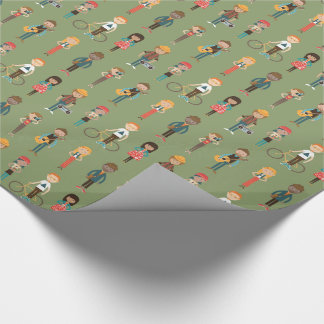 Hip Cartoon People Illustrations Pattern (Green) Wrapping Paper
