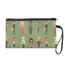 Hip Cartoon People Illustrations Pattern (Green) Wristlet Purse