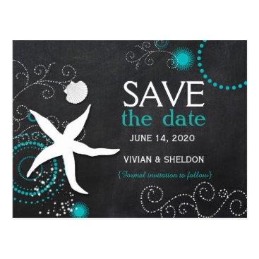 Beach Themed Hip Chalkboard Beach Wedding Save the Date Postcard