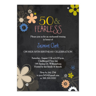 Hip Chalkboard Floral 50th Birthday Party Card