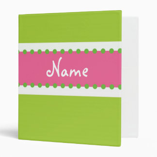 Hip Chick Personalized Pink and Green Binder
