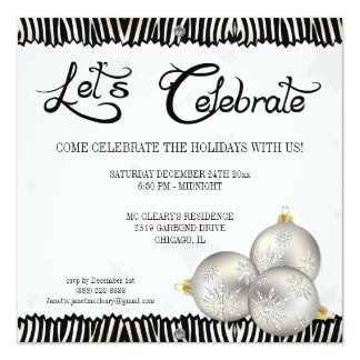 Hip Christmas Holiday Party Zebra Invitations