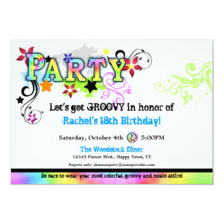 Hip Colorful 'N Groovy Party Invitation
