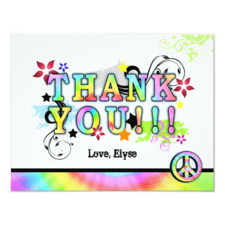 Hip Colorful 'N Groovy Thank You Note Card