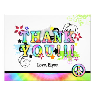 Hip Colorful 'N Groovy Thank You Note Invites
