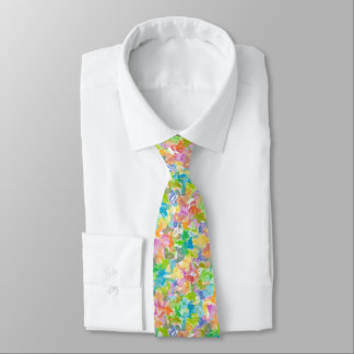 Hip Colorful Vibrant Summer Paint Splatter Pattern Tie