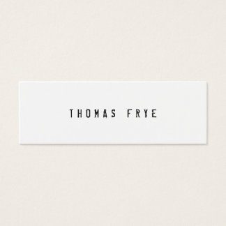 Hip Cool and Edgy, Simple White Minimalist Mini Business Card