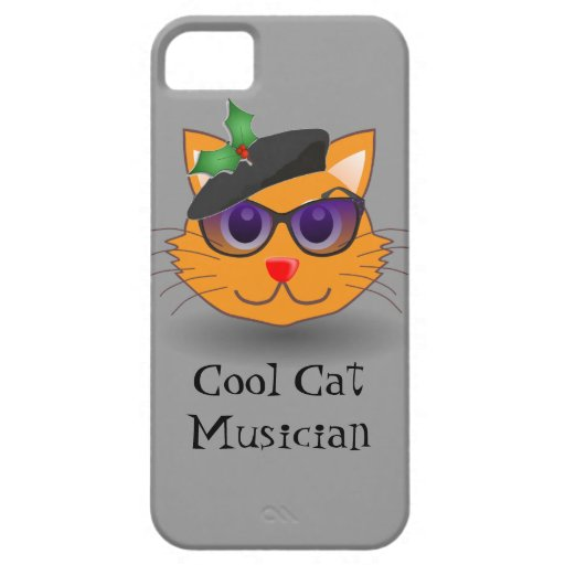 Hip Cool Cat Musician Holly Beret Christmas iPhone 5/5S Covers