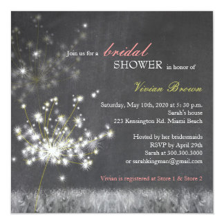 Hip Dandelion Chalkboard Bridal Shower Card