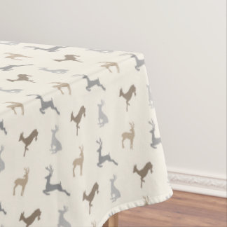 Hip Deer Pattern in Neutral Browns Tablecloth