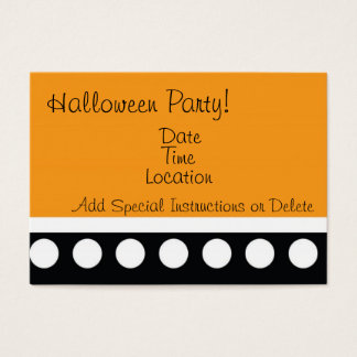 Hip Dots Halloween Party Inviation Business Card