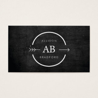 HIP & EDGY MONOGRAM LOGO with ARROW on BLACK WOOD Business Card