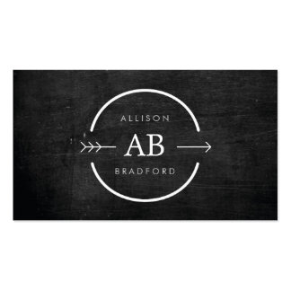 HIP EDGY MONOGRAM LOGO with ARROW on BLACK WOOD Business Cards