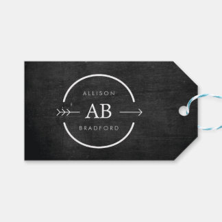 HIP & EDGY MONOGRAM LOGO with ARROW on BLACK WOOD Gift Tags